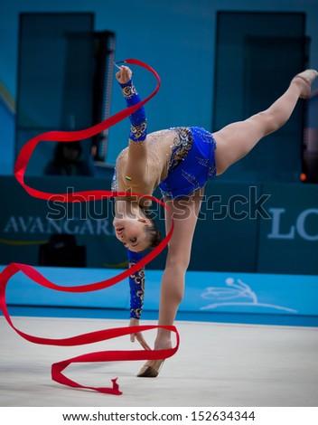 KYIV, UKRAINE - AUGUST 29: Ganna Rizatdinova of Ukraine performs during 32nd Rhythmic Gymnastics World Championship on August 29, 2013 in Kyiv, Ukraine