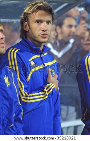 KYIV, UKRAINE - AUGUST 12: The forward of Ukraine National football team Andriy Shevchenko  sings the hymn before FIFA Friendly match between Ukraine and Turkey in Kyiv on August 12, 2009 in Kyiv, Ukraine