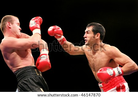KYIV, UKRAINE - FEBRUARY 21:  Julio Cesar Dominguez  fight against Vyacheslav Uzelkov during a bout for the WBA light heavyweight Intercontinental Champion title on Feb 21, 2008 in Kyiv, Ukraine