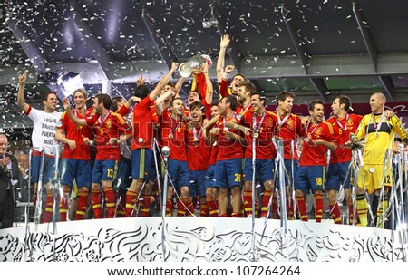 KYIV, UKRAINE - JULY 1: Spain national football team celebrates their winning of the UEFA EURO 2012 Championship after the game against Italy at NSC Olympic stadium on July 1, 2012 in Kyiv, Ukraine