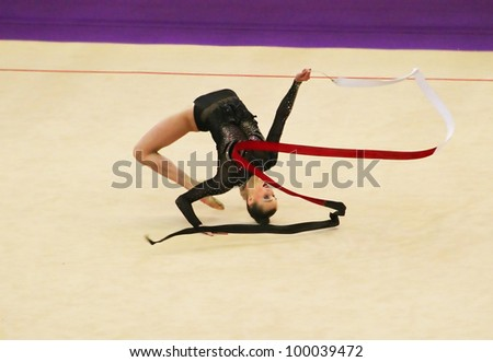 KYIV, UKRAINE - MARCH 18: Anna Rizatdinova (Ukraine) performs at Deriugina Cup (Rhythmic Gymnastics World Cup) on March 18, 2012 in Kyiv, Ukraine