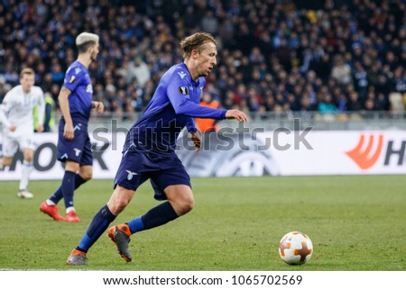 KYIV, UKRAINE - MARCH 15, 2018: Lucas Leiva of SS Lazio during UEFA Europa League Round game of FC Dynamo Kyiv against SS Lazio at NSK Olimpiyskyi stadium