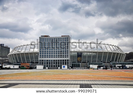 KYIV, UKRAINE - MARCH 31: National Olympic stadium in Kyiv (NSC Olimpiys'kyi), the main Euro-2012 final game stadium, after reconstruction, gloomy weather on March 31st, 2012 in Kyiv, Ukraine