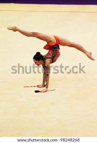 KYIV, UKRAINE - MARCH 18: Neta Rivkin from Israel performs during Deriugina Cup (Rhythmic Gymnastics World Cup) on March 18, 2012 in Kyiv, Ukraine