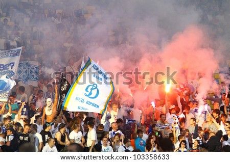 KYIV, UKRAINE - MAY 10: FC Dynamo Kyiv team supporters show their support during Ukraine Championship game against FC Tavriya on May 10, 2012 in Kyiv, Ukraine