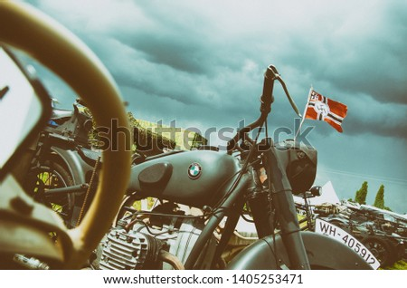 Kyiv, Ukraine - May 11, 2019: Old BMW Motorrad is the motorcycle since the second world war. #1405253471
