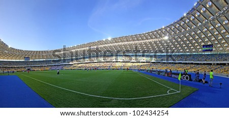KYIV, UKRAINE - MAY 10: Panoramic view of Olympic stadium (NSC Olimpiysky) during Ukraine Championship game between FC Dynamo Kyiv and FC Tavriya on May 10, 2012 in Kyiv, Ukraine - stock photo