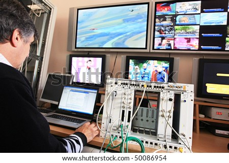KYIV, UKRAINE - NOV 16: Worker at  Control Center of Volia company during open doors day on November 16, 2007 in Kyiv, Ukraine