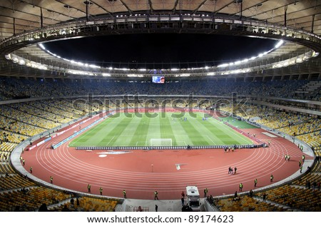 KYIV, UKRAINE - NOVEMBER 11: Panoramic view of Olympic stadium (NSC Olimpiysky) during friendly football game between national teams of Ukraine and Germany on November 11, 2011 in Kyiv, Ukraine