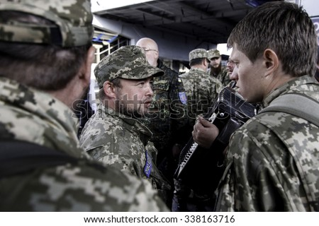 Kyiv, Ukraine - 14 October 2015: Ukrainian Orthodox chaplain of the Ukrainian Armed Forces leaves Kiev to be posted in the conflict area in Eastern Ukraine.