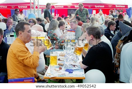 "KYIV, UKRAINE - SEP 25: The metropolitan ""Spartak"" Stadium hosted the traditional, popular among Kyivans, festival of beer Oktoberfest on September 25, 2006 in Kyiv, Ukraine"