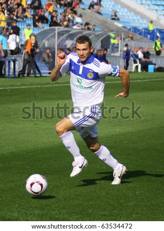 KYIV, UKRAINE - SEPTEMBER 26: Andriy Shevchenko of Dynamo Kyiv controls a ball during Ukraine Championship game against Arsenal on September 26, 2010 in Kyiv, Ukraine