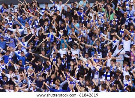 KYIV, UKRAINE - SEPTEMBER 26: FC Dynamo Kiev fans support their team during Ukraine Championship game against Arsenal on September 26, 2010 in Kyiv, Ukraine