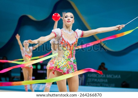 KYIV, UKRAINE - SEPTEMBER 1, 2013: Team of Russia performs during 32nd Rhythmic Gymnastics World Championship (Group Apparatus Final competition) at Palace of Sports in Kyiv