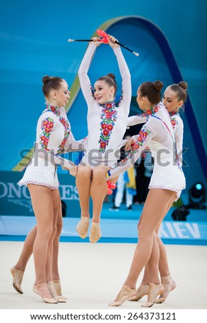 KYIV, UKRAINE - SEPTEMBER 1, 2013: Team of Ukraine performs during 32nd Rhythmic Gymnastics World Championship (Group Apparatus Final competition) at Palace of Sports in Kyiv