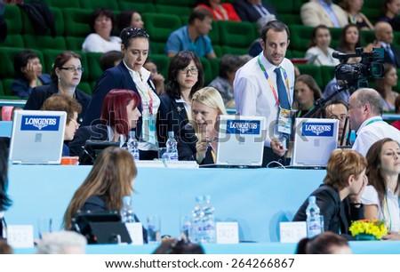 KYIV, UKRAINE - SEPTEMBER 1, 2013: The judges team during 32nd Rhythmic Gymnastics World Championship (Group Apparatus Final competition)