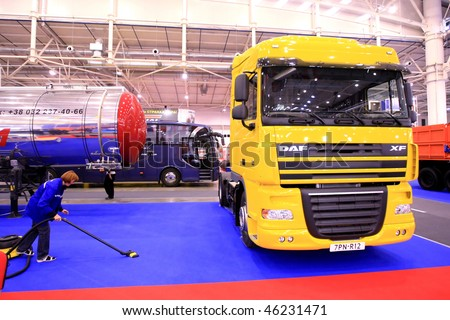 KYIV, UKRAINE - SEPTEMBER 16: World truck brands present their production at the 4th TIR-2008 show of freight and business-class vehicles on September 16, 2008 in Kyiv, Ukraine