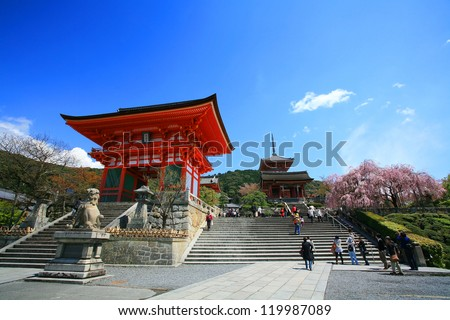 KYOTO-APR 18: Entrance of Kyomizu Temple against blue sky on April 18, 2011 in Kyoto, Japan. Here, built in 1633, is one of the most famous landmark of Kyoto with UNESCO World Heritage.