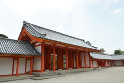 Kyoto Imperial Palace with traditional buildings and green nature gardens