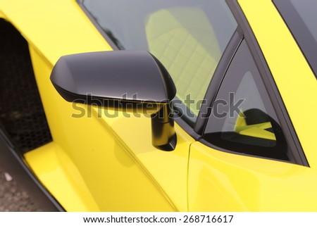 KYOTO, JAPAN -APRIL 12, 2015: The Side view of  Lamborghini car on April 12, 2015 in Japan