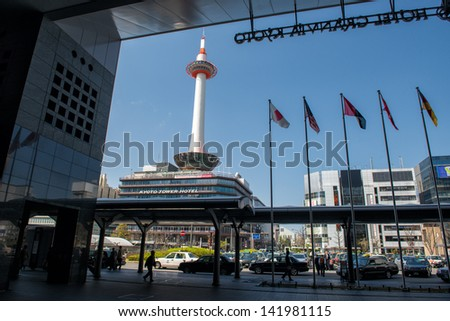 KYOTO, JAPAN - APRIL 8:  View from Kyoto Station towards Kyoto Tower on April 8, 2013 in modern Kyoto. Kyoto is the former imperial capital of Japan mainly known for its historic buildings.