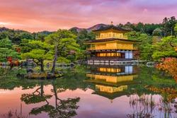Kyoto, Japan at Kinkaku-ji, The Temple of the Golden Pavilion at dusk.