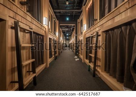 KYOTO, JAPAN - CIRCA MARCH, 2017: interior view of The Prime Pod Kyoto Capsule hotel.