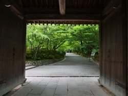 Kyoto, Japan: Sanmon, the gate to the Ryoan-ji Temple which is a Zen temple in the northwestern part of Kyoto. (The Japanese letters means to the Rock Garden and entrance)