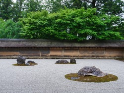 Kyoto, Japan:  Scenery of a Japanese garden.  A very nice place for meditation.