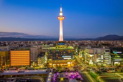 kyoto tower and skyline of kyoto city, japan