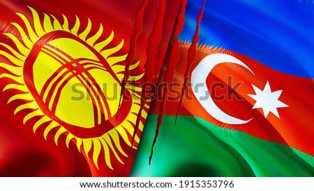 Kyrgyzstan and Azerbaijan flags with scar concept. Waving flag,3D rendering. Kyrgyzstan and Azerbaijan conflict concept. Kyrgyzstan Azerbaijan relations concept. flag of Kyrgyzstan and Azerbaijan