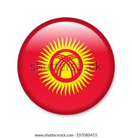 Kyrgyzstan - glossy button with flag