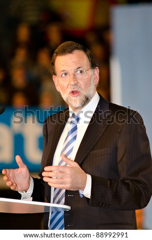 L'HOSPITALET, SPAIN - NOVEMBER 16: Mariano Rajoy, president of Spanish People's Party and running for president, speaks at a meeting during the 2011 Spanish election campaign on November 16, 2011 in L'Hospitalet, Spain
