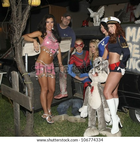 L-R Jennifer Dicelli, Katie Lohmann, Alana Curry, Jamie Carson and Lisa Cash  at 'Playboy Mansion Halloween Party'. Playboy Mansion, Holmby Hills, CA. 10-25-08 - stock photo