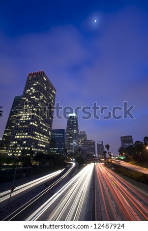 LA at night under the moonlight