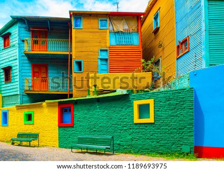 La Boca, view of the colorful building in the city center, Buenos Aires, Argentina Foto stock ©