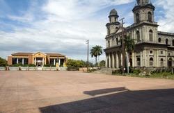 La Casa de Los Pueblos former Presidential Palace and the Cathedral of Santiago in Plaza of the Republic Revolution Managua Nicaragua Central America