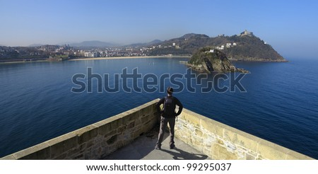 La Concha bay from the castle La Mota on Mount Urgull, Donostia - stock photo