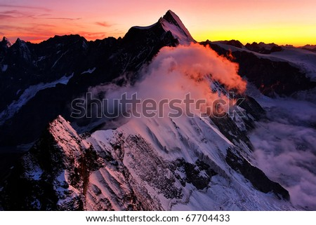 La Dent d`Herens (4171m), seen from Monte Cervino, Italy