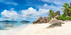 La Digue island beaches, panorama, Seychelles.