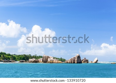 La Digue island, Seychelles. The island of dreams for a rest and relaxation. White coral beach sand. A heavenly place.
