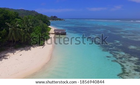 LA DIGUE, SEYCHELLES - SEPTEMBER 2017: Amazing La Digue Beach on a beautiful day, Seychelles aerial view from drone. Photo stock ©