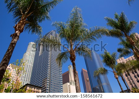 LA Downtown Los Angeles Pershing Square palm tress and skyscrapers #158561672