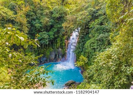 La Fortuna, Costa Rica. March 2018. A view of the blue waterfall Rio Celeste in Costa Rica