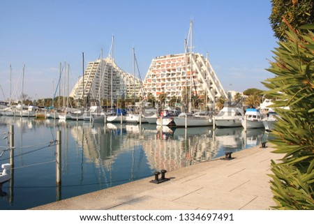 La Grande-Motte, a commune in the Herault departement in Occitanie in southern France. It is a popular seaside resort, marina and leisure center, one of the favorite resorts near Montpellier  #1334697491