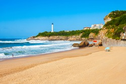 La Grande Plage is a public beach in Biarritz city on the Bay of Biscay on the Atlantic coast in France