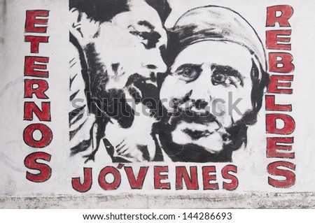 LA HABANA, CUBA - APRIL 21, 2009: Murals depicting the two Cuban heroes: Che Guevara and Fidel Castro at La Habana, Cuba on April 21, 2009.