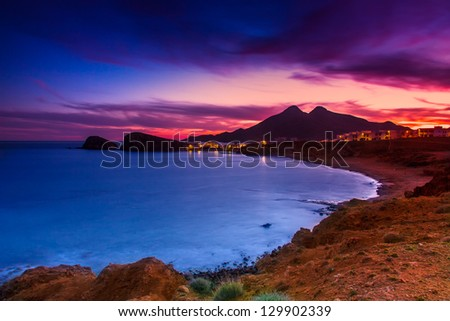 La Isleta del Moro coast of the natural park of Cabo de Gata, Almeria, Spain. This photo make long expusore and ND8 filter
