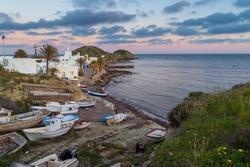 La Isleta del Moro sunset view, Cabo de Gata-Nijar National Park, Almeria province, Andalusia, Spain