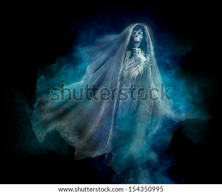 La llorona mexican scary ghost on black background seasonal